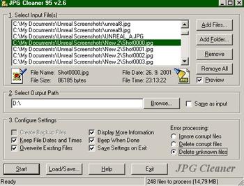 JPG Cleaner (โปรแกรม ลบไฟล์รูป ตระกูล JPEG )