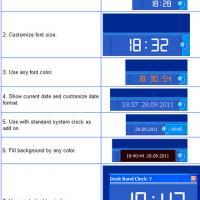 Desk Band Clock-7 (โปรแกรม เปลี่ยนรูปแบบ นาฬิกา บน Taskbar ให้สวยงาม)