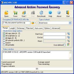 Advanced Archive Password Recovery (โปรแกรมกู้รหัสผ่านไฟล์ Archive) :
