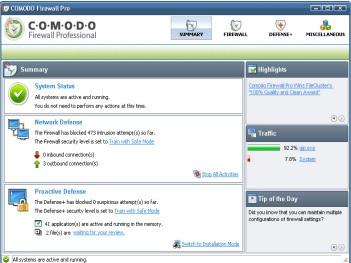 โปรแกรมป้องกันระบบเครือข่าย Comodo Firewall Free