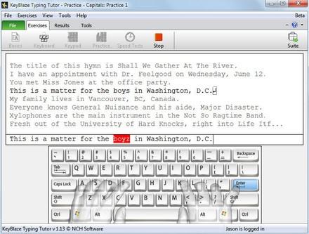 โปรแกรมฝึกพิมพ์ดีด KeyBlaze Typing Tutor