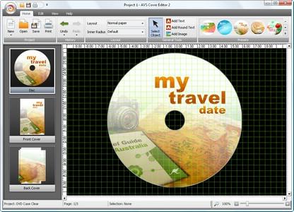 โปรแกรมทำปกซีดี ปกดีวีดี AVS Cover Editor