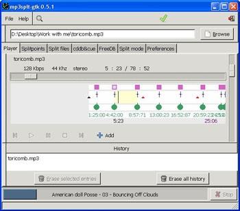 Mp3splt-gtk (โปรแกรมตัดเพลง mp3 และ ogg ชั้นเยี่ยม)