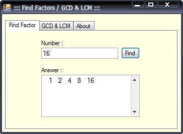 Find Factors Calculator GCD & LCM (โปรแกรมหาตัวประกอบ เลขจำนวนเต็ม หรม ครน) :