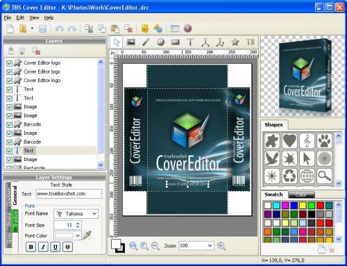 โปรแกรมออกแบบกล่องซอฟต์แวร์ TBS Cover Editor