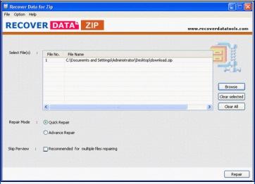 Recover Data Zip (โปรแกรม Recover Data Zip ซ่อมไฟล์ Zip) :