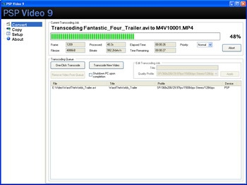 โปรแกรมแปลงไฟล์วีดีโอ PSP Video 9
