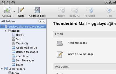 โปรแกรมรับส่งอีเมล์ Mozilla Thunderbird