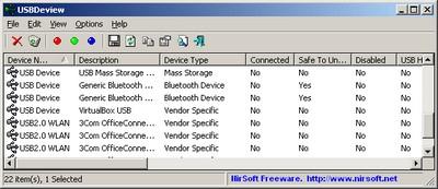 โปรแกรมดูพอร์ต USBDeview