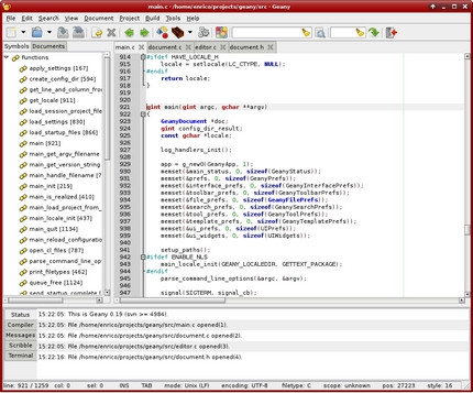 โปรแกรมเขียนโปรแกรม Geany