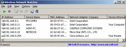 โปรแกรมดู Wireless ตรวจสอบไวเลส Wireless Network Watcher