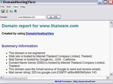 โปรแกรมดูรายละเอียดเว็บไซต์ DomainHostingView