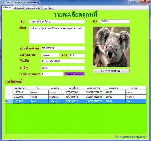 Debtor System (โปรแกรม เก็บข้อมูล ระบบลูกหนี้) :