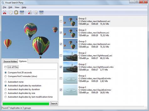 โปรแกรมค้นหาไฟล์วีดีโอซ้ำ Visual Search Pony