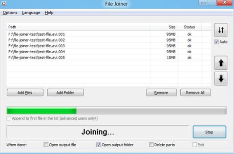 File Joiner Portable (โปรแกรม รวมไฟล์ย่อย ให้เป็นไฟล์ใหญ่ไฟล์เดียว) :