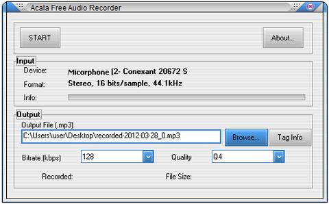 โปรแกรมบันทึกเสียง อัดเสียง Acala Free Audio Recorder