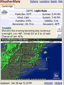 โปรแกรมรายงานอากาศจากทั่วโลก WeatherMate