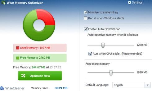 โปรแกรมจัดการ RAM เพิ่มความเร็วแรม Wise Memory Optimizer