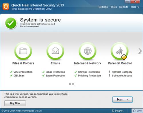 โปรแกรมป้องกันไวรัส Quick Heal Internet Security
