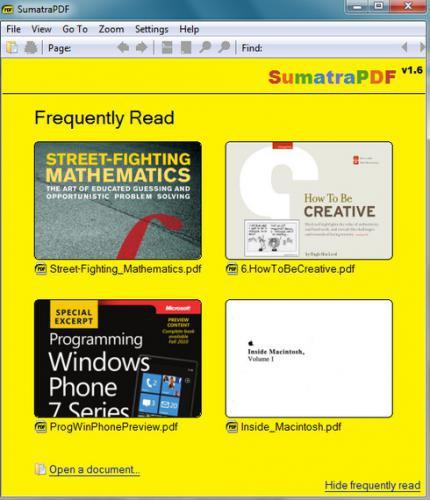 โปรแกรมอ่านไฟล์เอกสาร Sumatra PDF