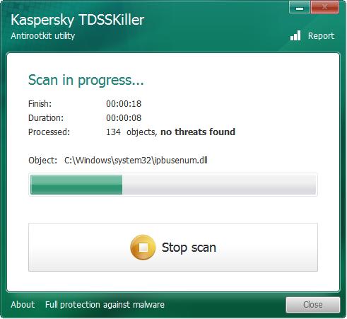 โปรแกรมกำจัดไวรัส Rootkit มัลแวร์ Kaspersky TDSSKiller