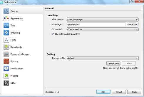QupZilla (เว็บเบราว์เซอร์ ขนาดเล็ก สนับสนุน HTML5) :