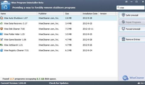 โปรแกรมลบโปรแกรม Wise Program Uninstaller