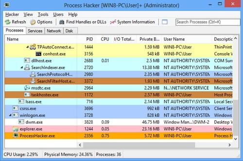 โปรแกรมดูโปรเซส เปิดโปรเซส ปิดโปรเซส ลบโปรเซส Process Hacker
