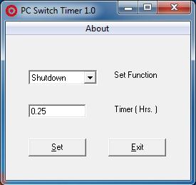 โปรแกรมตั้งเวลาปิดเครื่องคอม PC Switch Timer