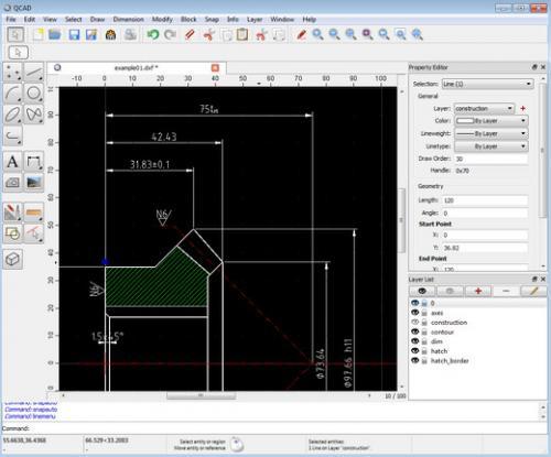 โปรแกรมออกแบบ CAD แบบ 2 มิติ QCAD
