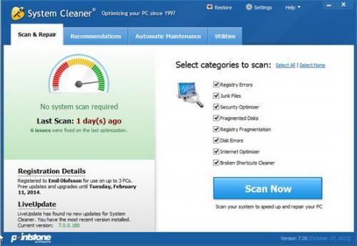 โปรแกรมดูแลเครื่องคอมพิวเตอร์ System Cleaner