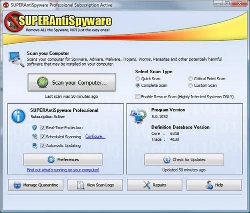 โปรแกรมกำจัดสปายแวร์ SUPERAntiSpyware