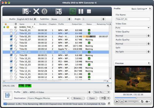 โปรแกรม DVD to MP4 Converter for Mac