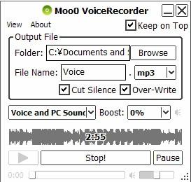 โปรแกรมอัดเสียงบันทึกเสียง Moo0 VoiceRecorder