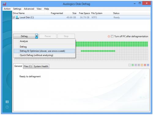 โปรแกรมจัดเรียงข้อมูล Auslogics Disk Defrag