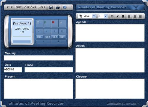 โปรแกรมอัดเสียง Minutes of Meeting Recorder
