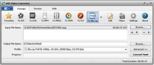 โปรแกรมแปลงไฟล์วีดีโอ AVS Video Converter