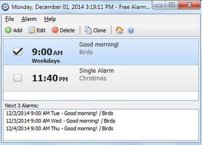 โปรแกรมนาฬิกาปลุกฟรี Free Alarm Clock