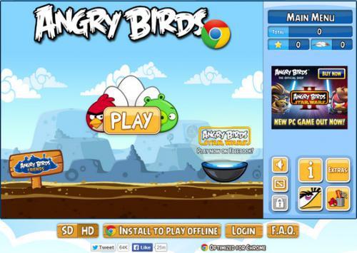 เล่น Angry Birds บน Chrome