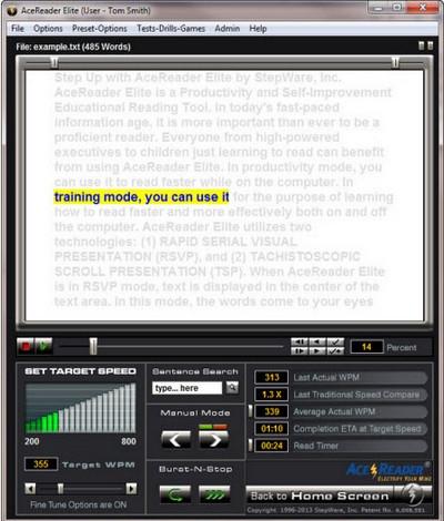 AceReader (โปรแกรมฝึกทักษะการอ่านภาษาอังกฤษ) :