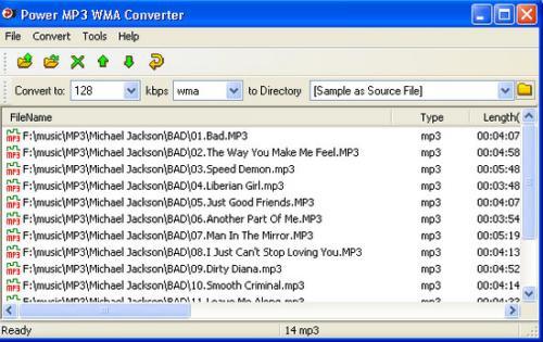 โปรแกรมแปลงไฟล์เสียง Power MP3 WMA Converter