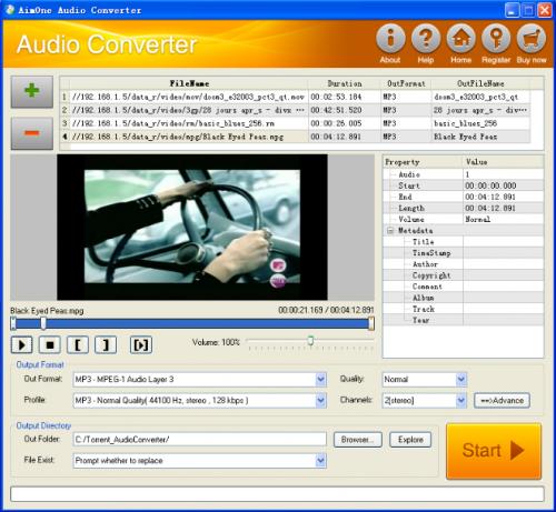 โปรแกรม AimOne Audio/Video to MP3/WAV Converter