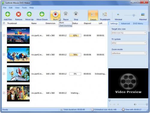 โปรแกรมแปลงไฟล์วีดีโอ Free Movie DVD Maker
