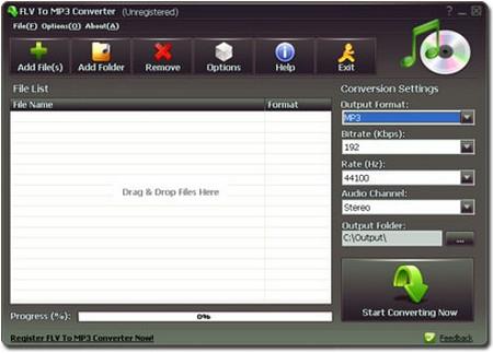 โปรแกรมแปลงไฟล์ FLV to MP3 Converter