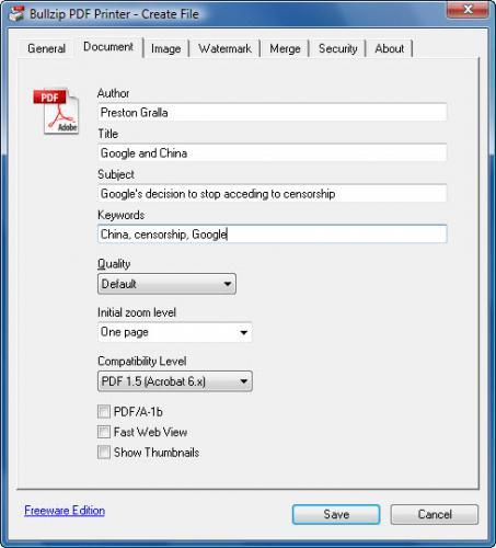 ดาวน์โหลดโปรแกรม Bullzip PDF Printer