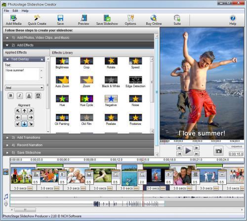 โปรแกรมทำสไลด์โชว์ Photostage Slideshow