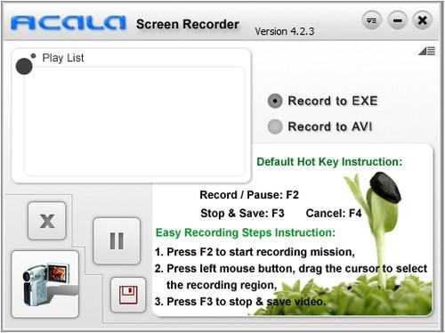 โปรแกรมอัดวีดีโอหน้าจอ Acala Screen Recorder