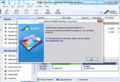 โปรแกรมจัดการฮาร์ดดิสก์ AOMEI Partition Assistant