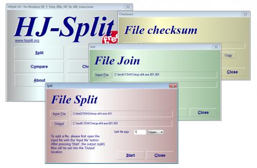 โปรแกรมแยกไฟล์ HJ Split
