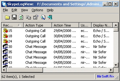 โปรแกรมดูประวัติแชท SkypeLogView
